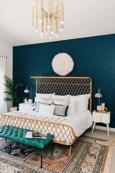 Kirsten Grove's signature style involves plenty of white, pink, and eye-catching interior tricks, like statement walls and retro furniture. Essentially, this interior stylist is creating every woman's dream house. Glam Bedroom, Bedroom Colors, Home Bedroom, Dark Teal Bedroom, Bedroom Rugs, Teal Bedroom Walls, Emerald Bedroom, Teal Bedding, Girls Bedroom