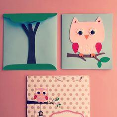 Κάρτα & φάκελος - Κουκουβάγια Owl card & envelope Owl, Notebook, Owls, Exercise Book, The Notebook