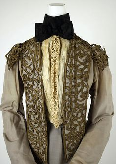 Walking dress.  Design House: House of Worth (French, 1858–1956) Date: 1900–1903 Culture: French Medium: silk, leather, metallic thread, cotton