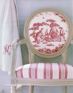 red toile and striped upolstred chair