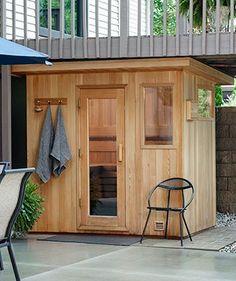 Sauna House, Sauna Room, Outdoor Sauna Kits, Indoor Sauna, Building A Sauna, Sauna Shower, Sauna Design, Backyard Renovations, Small Backyard Patio