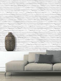 Muriva Painted White Brick Wallpaper - 102539