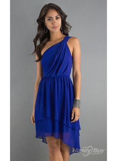 High Low One Shoulder Ruffles Chiffon Royal Blue Cocktail Dresses under 100 Dollars