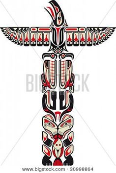 Haida style totem pattern created with animal images Vector illustration fit for tattoo