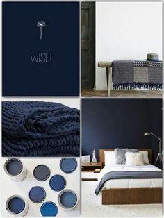 ideas bedroom inspiratie donker for 2019 Bedroom Wall Designs, Bedroom Wall Colors, Small Room Bedroom, Master Bedroom Design, Dark Blue Bedroom Walls, Dark Blue Walls, Shabby Chic Paint Colours, Shabby Chic Painting, Blog Deco