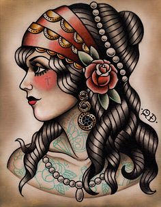 Old School Traditional Tattoo woman in headdress facing left with pearls. Hair