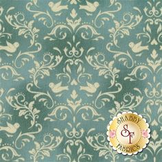 Welcome Home Collection One 8365-Q by Jennifer Bosworth for Maywood Studio Fabrics: Welcome Home Collection One is a beautiful collection by Jennifer Bosworth for Shabby Fabrics manufactured by Maywood Studio Fabrics. This fabric features scrolls and doves on a teal blue background.