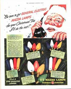 1940 General Electric Christmas lights. The Saturday Evening Post.