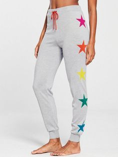 V by Very Rainbow Star Lounge Jogger - Grey Marl | very.co.uk