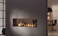 Gas fireplace / double-sided / closed hearth / contemporary TRIMLINE 120 ThermoCet BV
