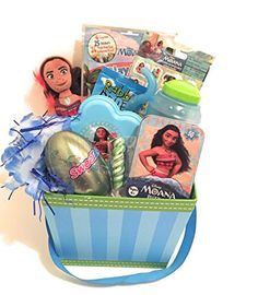 Disney Moana Easter Holiday Gift Basket or Birthday Basket - Puzzle, Play&GoPak, Candy,Stickers,Disney Moana Plush,Lei - 11 pieces