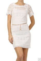 # 5311  Nylon/Cotton/Polyester  S/M/L/XL   White  This HIGH QUALITY dress is GORGEOUS! Made from a great fabric, this double layered body-con lace dress with a scalloped hem and an attached chain belt is hand washable, and fits true to size. 75