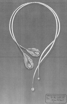 Necklace Sketch of Chanel Plume from the 2010 Haute Joaillerie Collection - Jewelry Jewelry Show, High Jewelry, Cute Jewelry, Jewelry Accessories, Jewelry Stand, Gold Jewelry, Ocean Jewelry, Music Jewelry, Pearl Jewelry