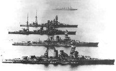 Battleships Nagato, Kirishima, Ise, and Hyuga, date unknown.