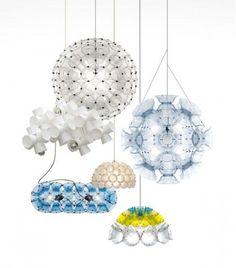 modern lighting fixtures handmade with plastic glasses