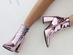 Shiny Pink Metallic Boots by PinkHeart_