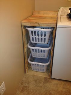 ~ These baskets and lids for the laundry room ~ Simple ideas for organizing . - Furnishing ideasThese baskets and lids for the laundry room Simple ideas for organizationLaundry basket holder designbuanderie Laundry basket holder in 2020 Laundry Basket Holder, Laundry Room Baskets, Laundry Room Organization, Laundry Room Design, Laundry Basket Storage, Laundry Basket Dresser, Laundry Sorter, Diy Projects Laundry Room, Laundry Organizer