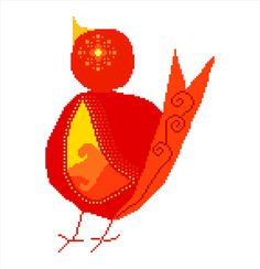 Red hot chubby bird. Modern cross stitch pattern by crossstitchtheline. Lovely bright colours and twirling shapes just make this gorgeous cross stitch project!