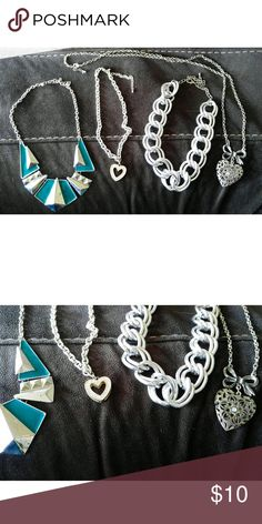 Silver Necklace Bundle 4 necklaces, 2 short statement necklaces (turquoise and thick chain), medium length rhinestone heart pendant necklace, and a long heart and ribbon necklace that opens like a locket Jewelry Necklaces