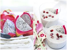 Dragon Fruit Creme -                                       1/4 c fresh coconut water  meat of one fresh coconut  meat of one dragon fruit (1 slice for garnish reserved)  1/2 tsp vanilla  1 tsp agave syrup & 3 drops stevia or both as you may  1/3 cup cashews- soaked 30 mins and drained