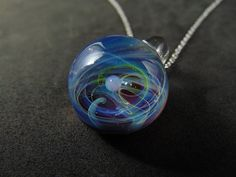 Tiny galaxy glass pendant necklace, Silver fumed Borosilicate space necklace, with a floating opal planet, blue red galaxy pendant with opal Handmade Beads, Glass Pendants, Planets, Opal, Pendant Necklace, This Or That Questions, Chain, Silver, Red