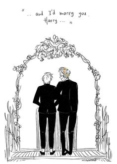 Can you just imagine though? I really think Harry would be the one to walk down the aisle because I think Louis would be the one who popped the question on haz and it must have been so ROMANTIC and I neED TO STOP BC FEELS Larry Stylinson, Draco Harry Potter, Larry Shippers, Harry 1d, Louis And Harry, Great Love Stories, Couple Drawings, Marry You, Best Couple