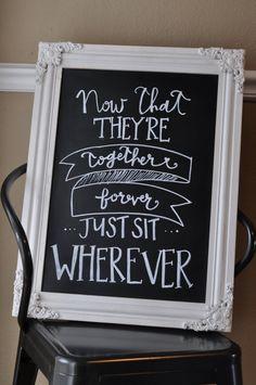 "Wedding Chalkboard Sign - ""Sit Wherever"""