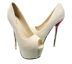 EarLene Womens Sexy High Heel Peep Toe Platform Stiletto Pumps Style * To view further for this item, visit the image link.(This is an Amazon affiliate link and I receive a commission for the sales)
