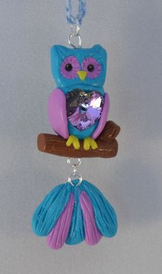 Blue & Purple Owl with Swarovski Heart Necklace