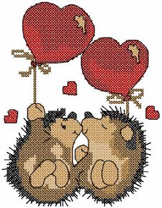Two lovers hedgehog cross stitch free embroidery design - Valentine's Day - Machine embroidery forum