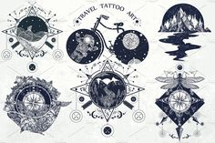 Travel tattoo collection by intueri on @creativemarket