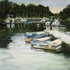 """Lined Up and Waiting"" by Philip Frey. 30""x30"" Oil on Linen.  Available at Maine Art Paintings & Sculpture."