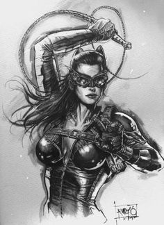 """The Dark Knight Rises"" Catwoman fan art by Rudy Ao."