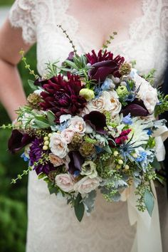 Romantic lush fall wedding bouquet idea - greenery, including dahlias, roses, scabiosa pods and calla lilies, berries Corey Cagle Photography fall wedding corsage / fall wedding boutineers / fall wedding burgundy / wedding fall / wedding colors Plum Wedding, Fall Wedding Bouquets, Corsage Wedding, Fall Wedding Flowers, Bride Bouquets, Floral Wedding, Wedding Dresses, Autumn Wedding, Trendy Wedding