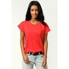 Annabelle Roll Back Sleeve Jersey T-Shirt ($12) ❤ liked on Polyvore