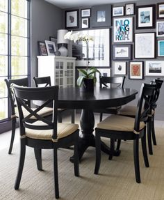 """LOVE this style. It only seats 6 though. Avalon 45"""" Black Extension Dining Table 