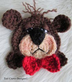 SALE Crochet Pattern Teddy Bear Applique Embellishment by Teri Crews Wool and… Crochet Amigurumi, Crochet Bear, Cute Crochet, Crochet Motif, Crochet Animals, Crochet Dolls, Crochet Flowers, Crochet Patterns, Crochet Appliques