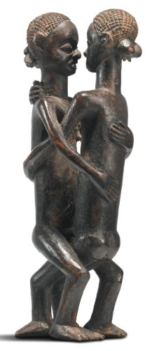 Kanyok Couple by Kadyaat-Kalool, Democratic Republic of the Congo Height: 7 3/4 in (19.7 cm) PROVENANCE Private Belgian Collection, reportedly collected circa 1900 READ note
