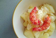 Carabineros patatas y camembert. A veces lo simple es lo mejor