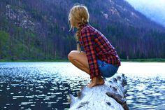 Mm, flannel, calm mountain waters, naked feet on wood... :-)