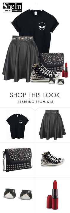 """""""Black Alien T-shirt"""" by elsakurppa ❤ liked on Polyvore featuring WithChic, Converse and MAC Cosmetics"""