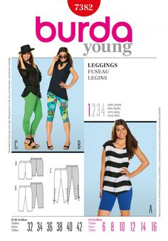 Burda Style B7382 Leggings Sewing Pattern