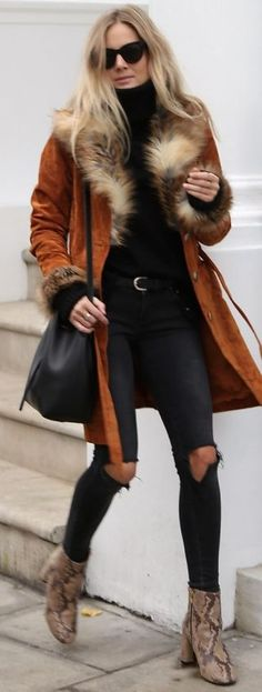 Fashion Me Now Rust Suede And Faux Fur Coat Fall Street Style Inspo #Fashionistas