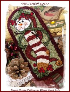 Image result for Christmas mason jar lid punch needle pattern