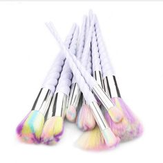 Beautiful unicorn high quality 10 piece makeup brushes. Beautiful & soft nylon hair - 100% vegan! Adorable unicorn horn fluted/spiral handles Colors may vary from those in picture  10pcs cosmetic tools: foundation brush, blusher brush, concealer brush, fan-shaped brush, power