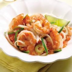 Shrimp Veracruzana - serve with brown rice and avocado for a healthy meal