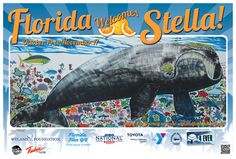 I'm #StellaTheWhale! I was hanging out with my good friend #Wyland, but now I'm lost. Help me migrate 600 miles across the state of Florida to Jacksonville, FL.     You'll be meeting my friends along the way, who will give you fun facts and tips. My 30-day journey is Oct. 14 - Nov. 17. I'll be sending you postcards along my journey.