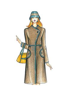 F3755   McCall's Patterns Coat Pattern Sewing, Mccalls Sewing Patterns, Vogue Patterns, Jacket Pattern, Marfy Patterns, Coat Patterns, Raincoats For Women, Jackets For Women, Dress Illustration