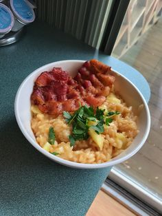 [Homemade] Apple Risotto with Freshly Grated Parmigiano-Reggiano Cheese Crispy Bacon and Fresh Apple Slices