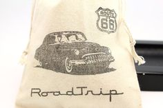 Route 66 retro car Party Favor bags set of 10 - 4x6 muslin bags - goodie bags, thank you, boys birthday on Etsy, $12.50